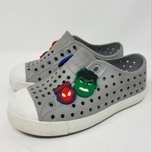 Native Shoes Grey Jefferson Child Sneakers Perforated Water Shoes Size 8